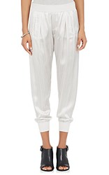 Atm Anthony Thomas Melillo Women's Striped Satin Sweatpants Light Grey Dark Grey