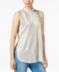 Bar Iii Metallic Mock Neck Top Only At Macy's Soft Gold