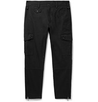 Dolce And Gabbana Tapered Stretch Cotton Cargo Trousers Black
