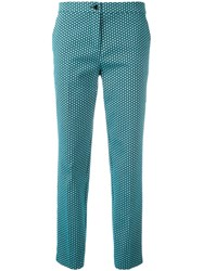 Etro Jacquard Cropped Trousers Blue