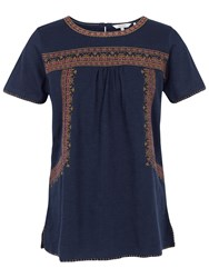 Fat Face Hope Embroidered Top Navy