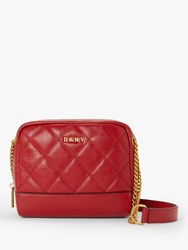 Dkny Sofia Leather Double Chain Cross Body Bag Bright Red