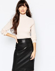 Selected Niba Turtle Neck Jumper In Fine Rib Pink
