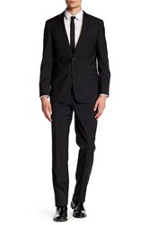Vince Camuto Charcoal Pinstripe Two Button Notch Lapel Slim Fit Wool Suit Gray