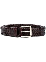 Canali Interlace Buckle Belt Red