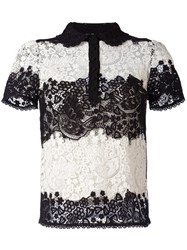 Red Valentino Lace Shortsleeved Shirt Black
