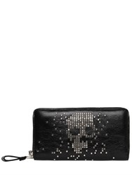 Alexander Mcqueen Studded Skull Leather Zip Around Wallet