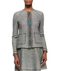 Nanette Lepore Take A Journey Tweed Jacket W Chain Placket Black Ivory