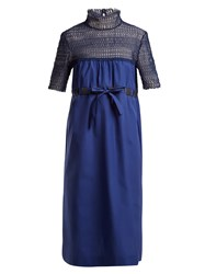 Thierry Colson Elizabethan Contrast Panel Cotton Dress Navy