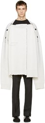 Raf Simons White Oversized Distorted Straight Neck Sweater