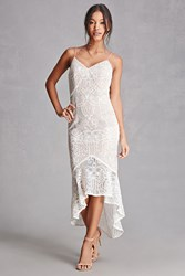 Forever 21 Lace Overlay Ruffle Hem Dress White