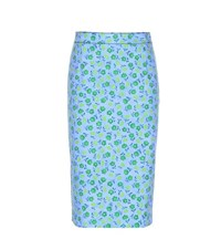 Prada Cotton Blend Twill Skirt Blue