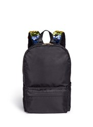 Tu Es Mon Tresor Velvet Ribbon Applique Strap Nylon Backpack Black