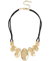 Kenneth Cole New York Gold Tone Pave Geometric Black Cord Statement Necklace