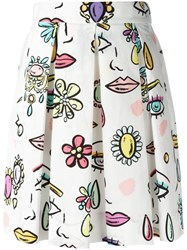 Boutique Moschino Printed Pleated Skirt White