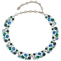 Susan Caplan Vintage Bridal 1950S Lisner Silver Plated Swarovski Crystal Necklace Green Blue