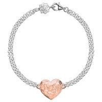 Dower And Hall Engravable Cherish The Moment Heart Double Chain Bracelet Rose Gold