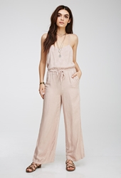 Forever 21 Tonal Feather Patterned Cami Jumpsuit Blush