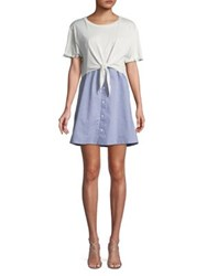 Design Lab Lord And Taylor Self Tie Striped Day Dress Grey White