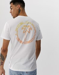 Bellfield Paradiso Chest And Back Palm Print T Shirt In White