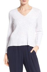 Eileen Fisher Women's Organic Linen And Cotton V Neck Sweater White