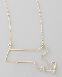 Gaugenyc Gold State Pendant Necklace Massachusetts