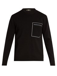 Fendi Patch Pocket Cotton And Cashmere Blend Sweater Black
