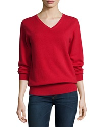 Neiman Marcus Cashmere Collection Long Sleeve V Neck Relaxed Fit Cashmere Sweater Women's