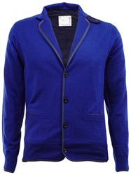 Sacai Notched Lapel Cardigan Blue