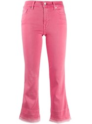 7 For All Mankind Cropped Bootcut Jeans Pink