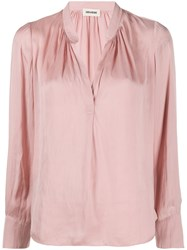 Zadig And Voltaire Tink Satin Tunique Manches Longues Pink