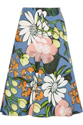 Marni Floral Print Cotton And Linen Blend Faille Midi Skirt Blue