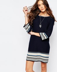 Esprit Jersey Stripe Dress Navy