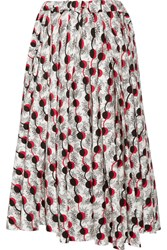 Marni Asymmetric Printed Cotton Poplin Midi Skirt White