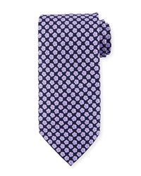Stefano Ricci Small Flower Silk Tie Navy Purple
