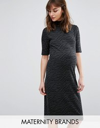 Mama Licious Mamalicious Textured High Neck Short Sleeve Dress Black Grey