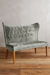 Anthropologie Slub Velvet Wingback Bench Armless Slate
