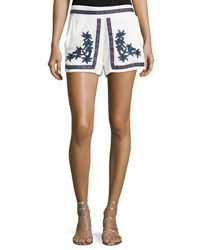 Romeo And Juliet Couture Floral Embroidered Gauze Shorts White
