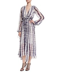 Prabal Gurung Long Sleeve Tie Dye Chiffon Midi Dress Navy