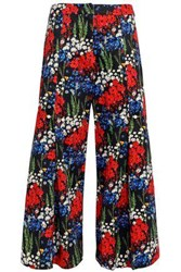 Mother Of Pearl Bennie Faux Embellished Floral Print Stretch Cotton Culottes Midnight Blue