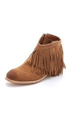 Jeffrey Campbell Chaffee Suede Fringe Booties Tan