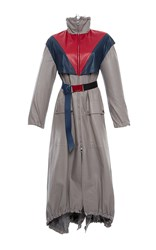 Versace Color Block Belted Leather Coat Grey Red Blue