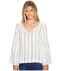 Sanctuary Lila Lace Up Top Luna Stripe Women's Long Sleeve Pullover White