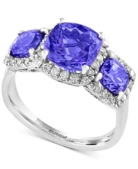 Effy Final Call Tanzanite 2 3 4 Ct. T.W. Three Stone And Diamond 1 3 Ct. T.W. Ring In 14K White Gold