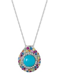 Le Vian Robin's Egg Turquoise 3 1 10 Ct. T.W. And Multi Sapphire 1 Ct. T.W. Pendant Necklace In 14K White Gold