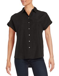Lord And Taylor Two Pocket Button Down Blouse Black