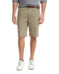 Brunello Cucinelli Flat Front Cotton Shorts Beige