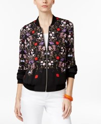 Inc International Concepts Petite Floral Print Bomber Jacket Only At Macy's Nghtfall Floral
