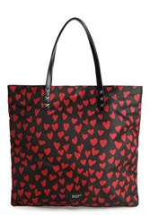 Red Valentino Redvalentino Woman Leather Trimmed Studded Printed Shell Tote Black