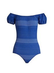 Lisa Marie Fernandez Leandra Striped Swimsuit Blue Stripe